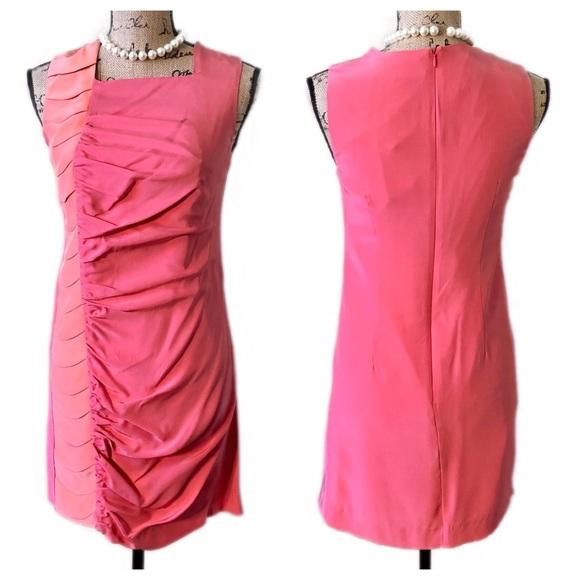 9e6e821bde32 David Yo Dresses | Pink Peach Ruched Silk Cocktail Dress Nwt | Poshmark